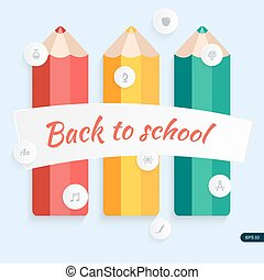 Back to school, pencil with education icons. Vector illustration.