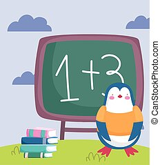 back to school, penguin chalkboard stacked books outdoor