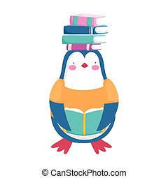 back to school penguin clothes with and reading book cartoon