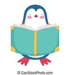back to school, penguin reading book study cartoon