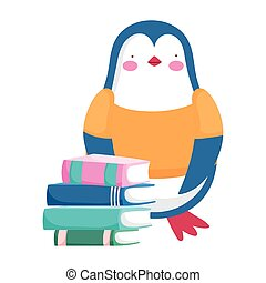 back to school, penguin stacked books student cartoon