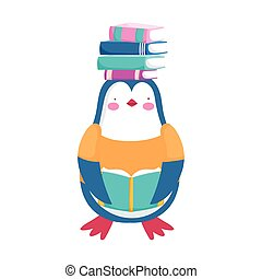 back to school, penguin with books on head cartoon