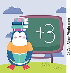 back to school, penguin with books on head chalkboard cartoon