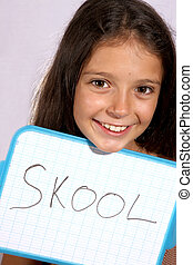 Back to school - Pretty young girl posing with a white board