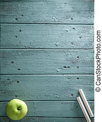 Back to school. School background with supplies. chalk and...