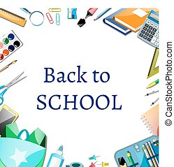 Back to school poster design with icons