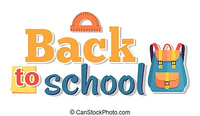 Back to School Poster Isolated on White Vector