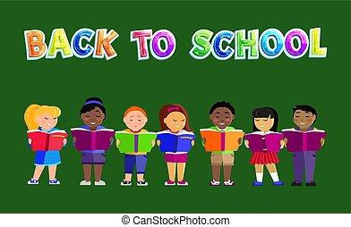 Back to School Poster Kids Vector Illustration - Back to ...