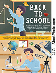 Back to school poster. Student in geometry class