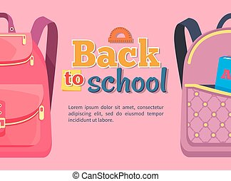 Back to School Poster with Backpacks for Children