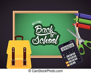 back to school poster with chalkboard and crayons