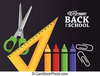 back to school poster with crayons and items
