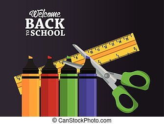 back to school poster with crayons and supplies