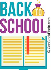 Back to school poster with open book