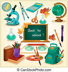 Back to school poster with stationery vector icons