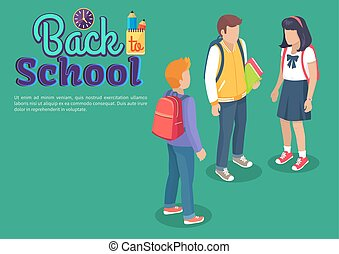 Back to School Poster with Teenage Students Talk - Back to...