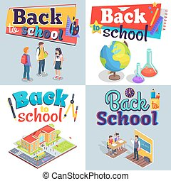 Back to School Posters with Colorful Inscriptions