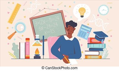 Back to school preparation concept. Student doing homework. Bulb symbol of generating ideas. Flat illustration cartoon. 2d animation with alpha channel isolated on white background.