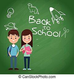 back to school puplis board chalk drawing