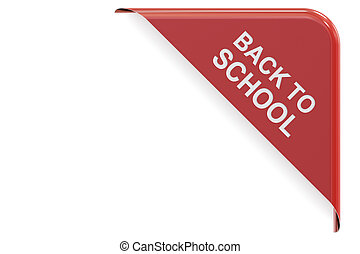 Back to School red corner, sale and discount concept. 3D rendering