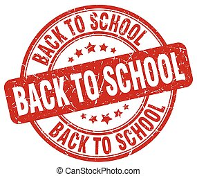 back to school red grunge round vintage rubber stamp