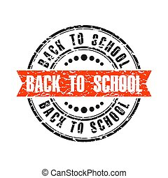 back to school red round grunge vintage ribbon stamp