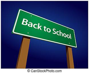 Back To School Road Sign Illustration