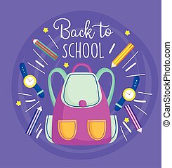 back to school rucksack pencil color watch education