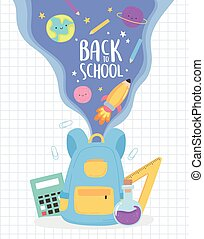 back to school, rucksack stationery and study supplies education cartoon