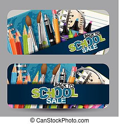 Back to school sale banner set. Header for advertisement or shopping discount promotion. Realistic study supplies. Vector illustration.