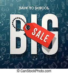 Back to school sale banner vector design for store discount promotion, vector illustration