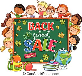 Back to school sale Illustration with school board and different nationality kids