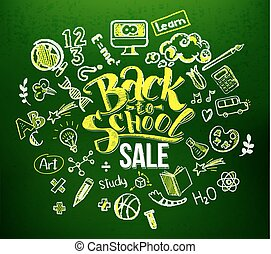 Back to school sale in doodle frame