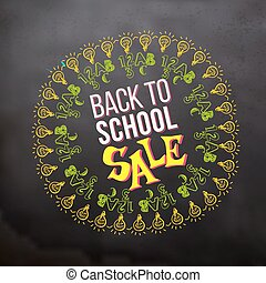 Back to school sale in sketch frame