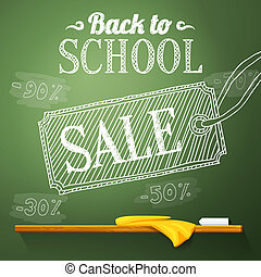 Back to school sale on the chalkboard with different sale percentss. Vector