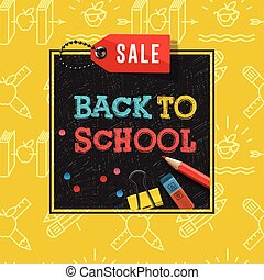 Back to school sale poster and banner with colorful title and elements in black and yellow background for retail marketing promotion and education related, vector illustration.