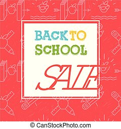 Back to school sale poster and banner with colorful title and elements in red background for retail marketing promotion and education related, vector illustration.