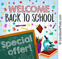 Back to school sale special offer poster design