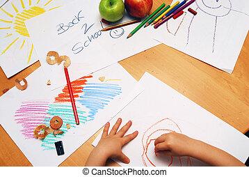 Back to school scene - Little hands drawing between school...
