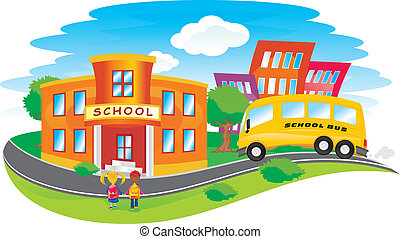 scene with children returning to school in a colorful city