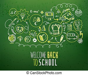 Back to school scheme on green chalkboard