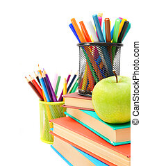 Back to school. School accessories on a white background.