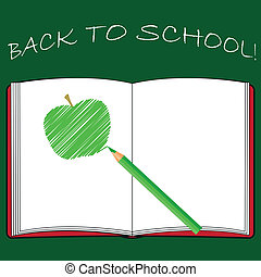 Back to school, school books with apple on desk, vector Eps10 illustration