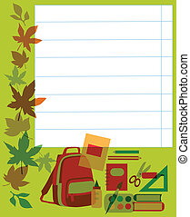 Back to school. School notebook with supplies.