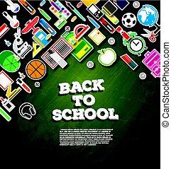 Back to school. School supplies on green chalk board background.