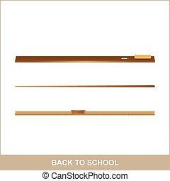 Back to school, school supplies, ruler, chalk and sponge.