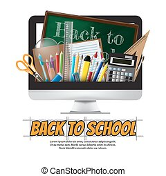 Back to school School supplies, stationery and Computer, vector illustration