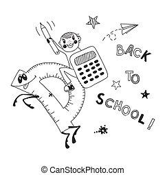 Back to school. Schoolboy endearing knowledge. Vector...