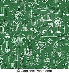 Back to school seamless background on blackboard.