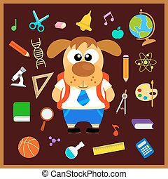 Back to school seamless background with dog